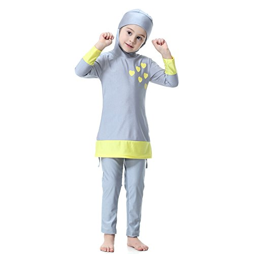 Hougood Girls Muslim Swimming Costumes Kids Modest Islamic Hijab Swimsuits Burkini Long-sleeved Sun Protection Swimwear Sets Diving Suits Full Length Bathing Suits Printed Top with Hijab + Pants