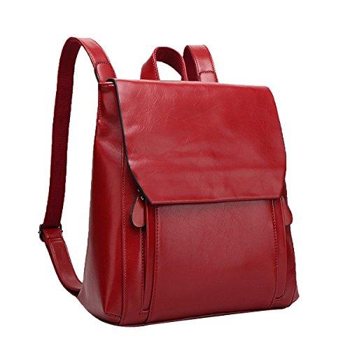 ADEMI Frauen Pu Crazy Leder Vintage Frauen Rucksack Schultasche ,Red-M