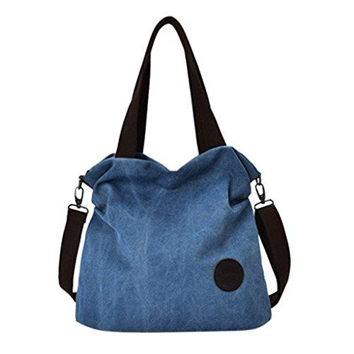 Kofun Bolso de Lona de Las Mujeres Hombro Messenger Crossbody Bag Large Tote Purse Blue