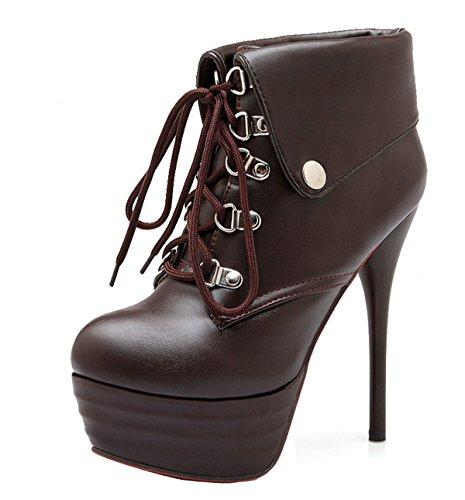 YE Damen High Heel Plateau Stiletto Rote Sohle Wasserdicht PU Leder Stiefeletten mit Schnürung Lace up Ankle Boots 14cm Absatz Herbst Winterschuhe Braun