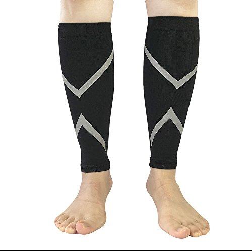 1 par Calentadores de Pantorrilla de Compresión de Pierna Compression Calf Sleeves con Reflejos Grises para Running Entrenamientos Correr Caminar Ciclismo Baloncesto Béisbol - L