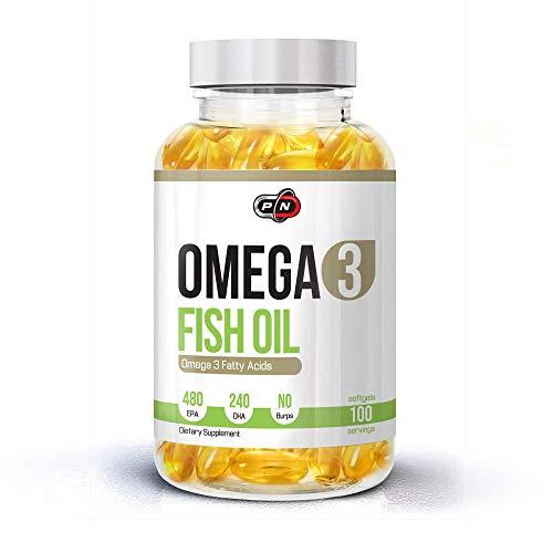 Pure Nutrition OMEGA 3 Kapseln Fischöl Hochdosiert 480 EPA 240 DHA 1200mg Ohne Zusätze Essentielle Fettsäuren Molekular Destilliert für Höchste Reinheit und Frische Fish Oil (100 Softgels)