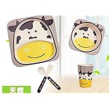Xing Lin Cubertería Para Niños Fibra De Bambú Vajilla Infantil Formación Traje Bebé Plato De Comida De Bebé Tabla Cartoon Alimentos Complementarios Cuchara,Dos Vacas Lecheras Cinco Piezas