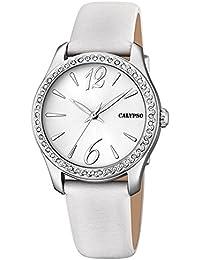 Calypso de mujer reloj de pulsera Fashion Analog piel textil color blanco de pulsera reloj de cuarzo esfera plata uk5717/1