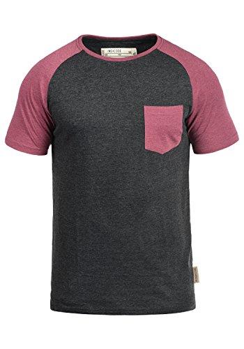 Indicode Gresham Herren T-Shirt Kurzarm Shirt Rundhalsausschnitt  Brusttasche Aus Hochwertiger Baumwollmischung Meliert Charcoal 67d97bca81