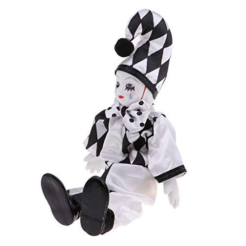 Baoblaze Porzellan Clown Kostüm Puppe Kinder Spielzeug Geschenke Halloween Weihnachten Dekoration - # 8, 25 cm