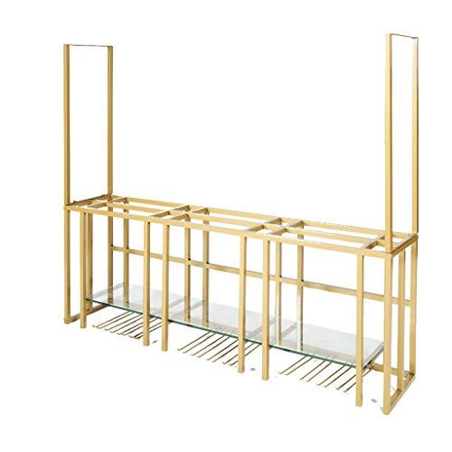 Double Layer Wine Rack mit Glasplatte für Küche, Esszimmer, Bar oder Weinkeller - Nordic Wall Ceiling Decor Weinglas und Flaschen Veranstalter - Gold Eisenrahmen -