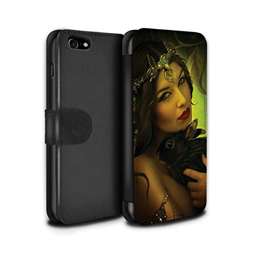 Officiel Elena Dudina Coque/Etui/Housse Cuir PU Case/Cover pour Apple iPhone 8 / Couple Forêt/Lapin Design / Les Animaux Collection Couple Forêt/Lapin