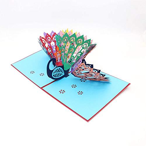 Jun-h 3d pavone pop up buste biglietto d'auguri assemblato a mano per gli amici congratulazioni e biglietti di auguri di san valentino miglior regalo creativo