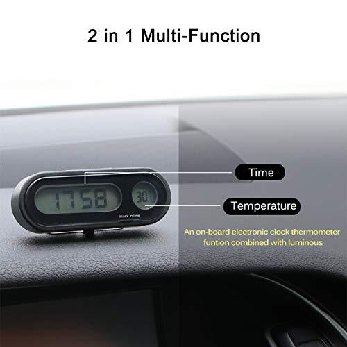 MASO Auto-Uhr für Armaturenbrett, Digitale Uhren, mit Schwarzlicht und LCD-Display, einstellbare Fahrzeugtemperaturanzeige, unterstützt 12 Stunden / 24 Stunden Transformationsmodi
