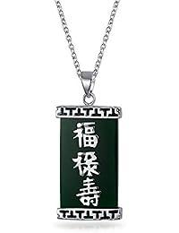 865d7c0a0607 Bling Jewelry teñido Ágata Verde Chino Fortune Colgante Collar de plata  esterlina de ...