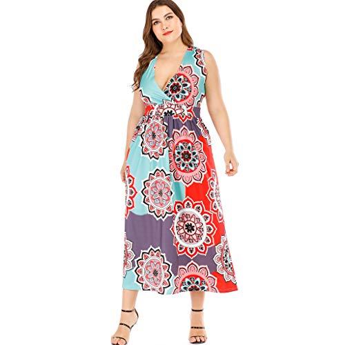 TIFIY Damen Großformat Kleid Plus Size ärmellose Print Casual Abend Party Boho Kleid Lose Bequem Täglich Freizeit Kleiden(Mehrfarbig,XXXL) (Kostüm Größe 70er-jahre-plus)