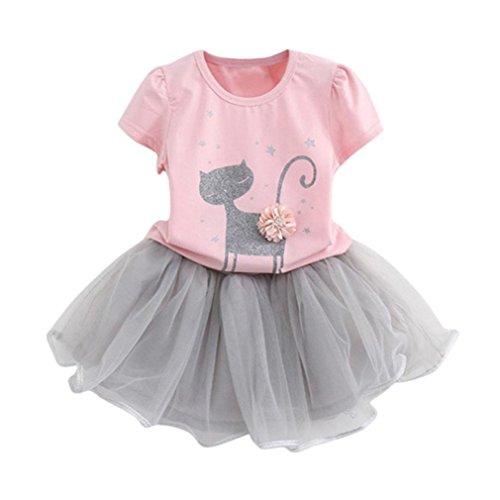 Bekleidung Longra Sommer Baby Kinder-Mädchen-Mode-Cartoon Kätzchen wenig Bedruckten Kurzarm T-Shirt-Kleid Tutu Kleider Sommerkleid (2-6Jahre) (120CM 5Jahre, Pink)