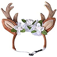 Oyamihin Ablaze Zal Cute Pet Supplies Navidad Pet Reindeer Diadema Banda para el Cabello - Rojo M