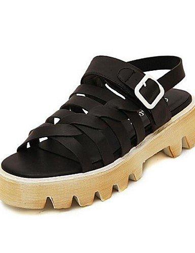 UWSZZ Die Sandalen elegante Comfort Schuhe Frau - Sandalen - l盲ssig - 脰ffnen - Plateau - Kunstleder - Schwarz/Wei