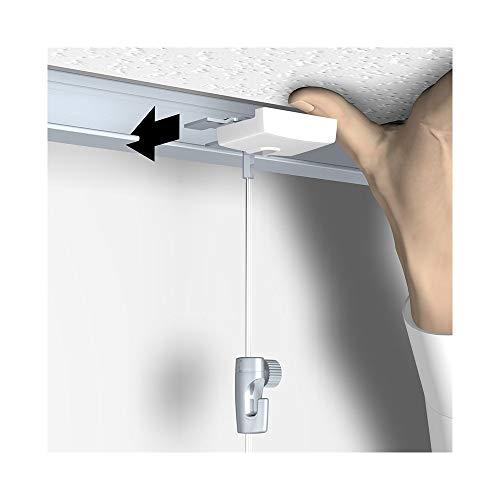 Bildaufhänger speziell für abgehängte Decken / Systemdecken, mit Perlonseil und Bilderhaken, Länge: 2 m