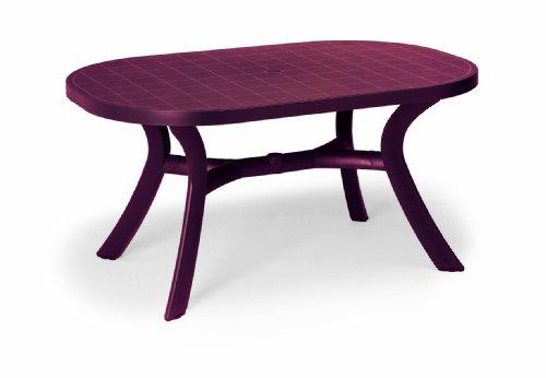 Beauty.Scouts Gartentisch Tisch Esstisch Veilchen mit abdeckbaren Schirmloch - Bordeaux