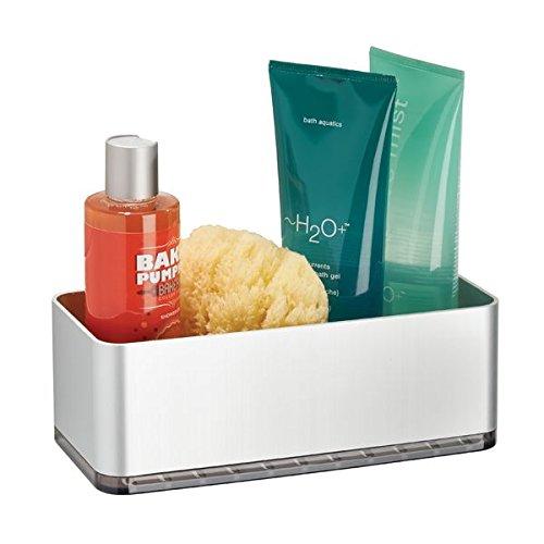 mDesign Duschkorb selbstklebend - praktisches Duschregal - ohne Bohren zu montieren - Duschablage aus Aluminium für sämtliches Duschzubehör (Shampooflaschen, Rasierer etc.)