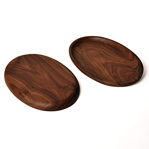 PORCN Obstteller aus Holz Master Star Whole Wood Black Walnut mit unregelmäßigen ovalen Holz Pan Platte Obstteller Untertasse Tee Tablett Dessert Teller Platte Oval Tray