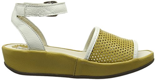 FLY London Bofy634fly, Sandales Compensées femme Jaune - Yellow (Ochre/Offwhite)
