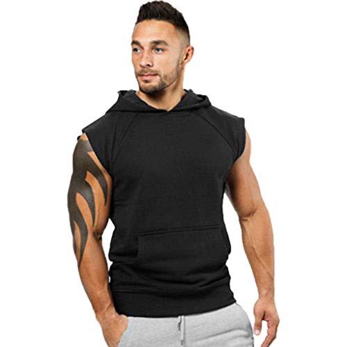 Bazhahei casuale muscolo canotta con cappuccio uomo vest sport fitness bodybuilding tank senza maniche t-shirt maglietta primavera estate casuale top camicia da uomo elegante-gilet sportivi