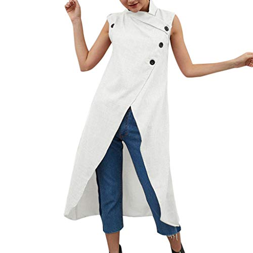 Femmes Élégant Robe, Vintage Coton et Lin Bouton sans Manches Grande Taille Robe FendueMini Robe ÉLégant Robe de Soirée, S-4XL