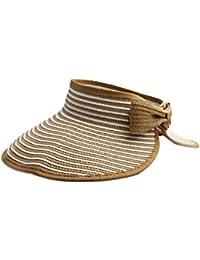 Accessoryo - Señoras beige y blanco raya sombrero de verano de visera de ala ancha con arco
