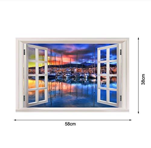 Xzfddn Neue 3D Fenster Ansicht Wandaufkleber Sonnenuntergang Landschaft Strand Seite Stadt Aufkleber Vinyl Tapete Wohnkultur Wohnzimmer Poster