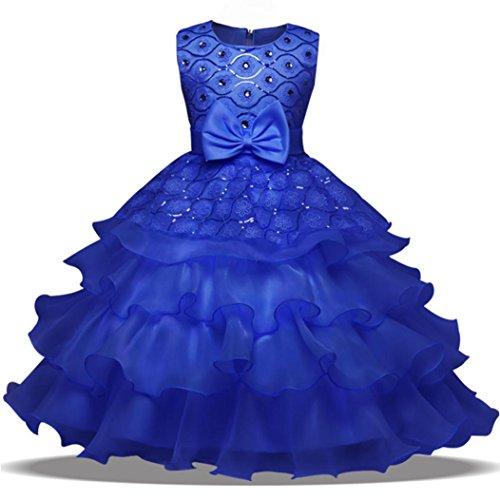 ❤️Kobay Blumen-Baby-Mädchen-Prinzessin Bridesmaid Festzug-Kleid-Geburtstags-Party-Hochzeits-Kleid (150/7Jahr, Dunkelblau)