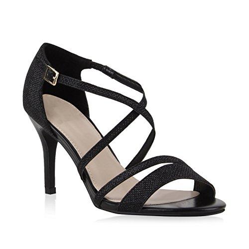 Stiefelparadies Damen Riemchensandaletten Sandaletten Stilettos High Heels Abiball Hochzeit Braut Schuhe 110989 Schwarz Riemchen Bernice 36 Flandell