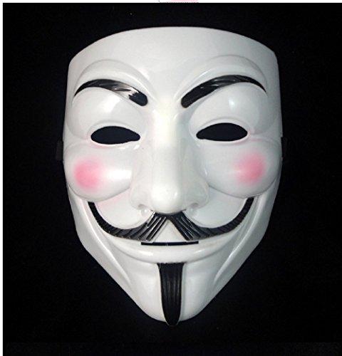 WeißE Maske Karneval Frau Und Mann Mit Dem Gesicht Von V For Vendetta Anonyme Fawkes BerüHmten Film - Hllw