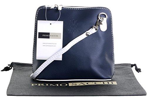 Italienische Leder, klein/Micro Navy und weiß Kreuz Umhängetasche oder Schultertasche Handtasche.Beinhaltet eine schützenden Aufbewahrungstasche. (Weiß-navy-leder)