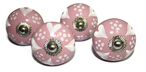 Color blanco corazón diseño de lunares pomo de cerámica rosa Base pintada a mano armario Knob armarios y aparador cajones pomo–Juego de 4pomos (ohk0080)