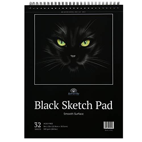 Schwarzes Skizzenbuch: Buch mit schwarzem perforiertem Papier auf einer Spirale - 32 Blatt Skizzenbuch