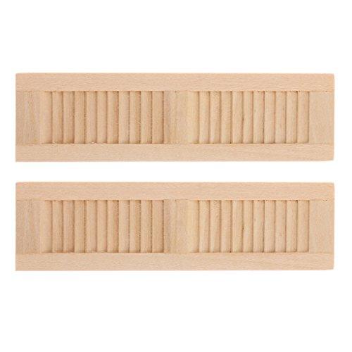 Sharplace 2 Stück 1/12 Puppenhausmöbel Miniatur Fensterläden Fenster aus Holz - 11,5 * 3,2 cm