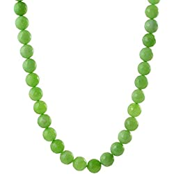 Kastiya Jewels Beautiful Green Color Jade Quartz Semi Precious Gemstone Beads Necklace Mala For Women