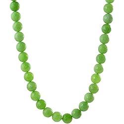 Kastiya Jewels Beautiful Green Color Jade Quartz Semi Precious Gemstone Beads Necklace Mala For Women