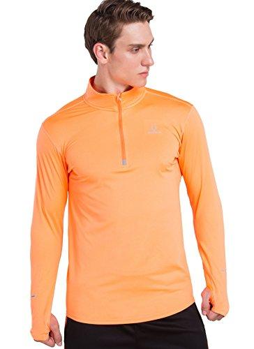 Red Plume Herren Basic Langarm mit Ganzjahresreifen Handschuhe tragen dünne Top für Herren originale Slim Hemden 4 Farben (Orange, (Kostüme Humor Trockenen)