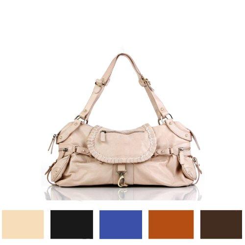 BACCINI® Handtasche mit langen Henkeln GISELE - Damen Schultertasche groß Ledertasche - Handtasche in lässiger Gaucho-Optik Damentasche echt Leder creme creme