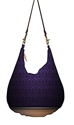 Snoogg Purple Wall Pattern Design Hobo, Ethnic Hobo Bag, Aztec Hobo Bag, Native Style Bag, Large Hobo Bag, Zipper Closure Bag, Large Shoulder Bag, Tribal Bag