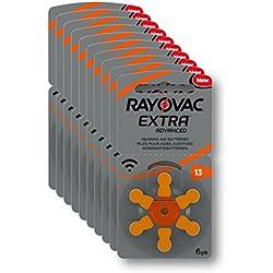 Rayovac Piles - Extra Advanced zinc-air pour aides auditives, code couleur orange, taille 13, lot de 60 piles