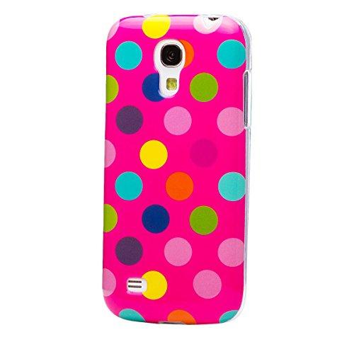 Samsung Galaxy S4 MINI | iCues lunares TPU rosa / de color | Señoras de las mujeres de las muchachas de gel de silicona adorno del modelo de piel protectora de protección [protector de pantalla, incluyendo] Cubierta Cubierta Funda Carcasa Bolsa Cover Case