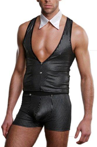r-Dessous Kellner Ober Barkeeper Herren Stripper Kostüm Männer Striptease GoGo Clubwear Mottoparty Party Groesse: S/L