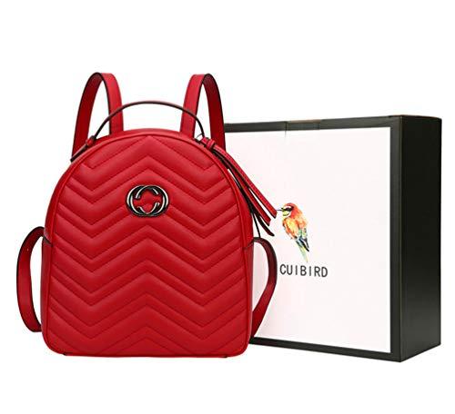 CUIBIRD Elegant Damen Rucksack Mädchen Tagesrucksack Einfarbig Lederrucksack Mode Frauen Taschen Schule Klein Rucksäcke Lässig Daypacks für 9.7 Zoll ipad (Rot)