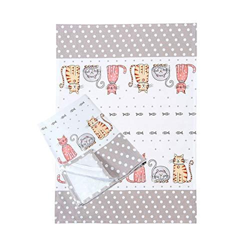 Set di 2 asciugamani da cucina strofinacci canovacci asciugapiatti in cotone bianche misura 50x70 cm disegno di gatti regalo per gli amanti dei gatto set 2 cat design tea towels