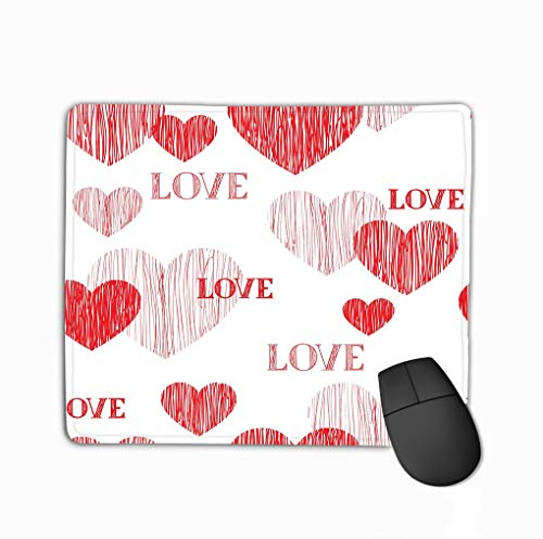 Customized Rectangle Mousepad,Cute Gaming Mouse Pad Mat 11.81 X 9.84 Inch Love Heart mom Happy Valentines Day Handwritten Lettering Wallpaper Pencil Sketch Tiled - Day Happy Valentines Mom