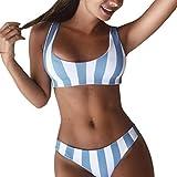 Longra Ropa Bañadores Bikinis con Rayas,Longra Bikini Push Up De Cuello Halter/Deportivos Bañador/Mujer Tankini para mujer pantalones cortos bañadores/trajes de baño de dos piezas conjuntos (Azul, S)