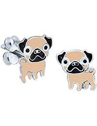 Pug Earrings - Sterling Silver Gift