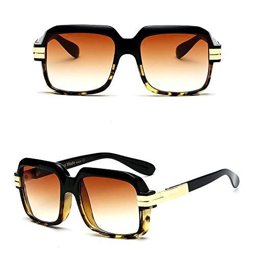 WULE-RYP Polarisierte Sonnenbrille mit UV-Schutz Mode Outdoor Trend Retro Big Frame Sonnenbrillen für Männer und Frauen. Superleichtes Rahmen-Fischen, das Golf fährt (Farbe : Black/Leopard Print)