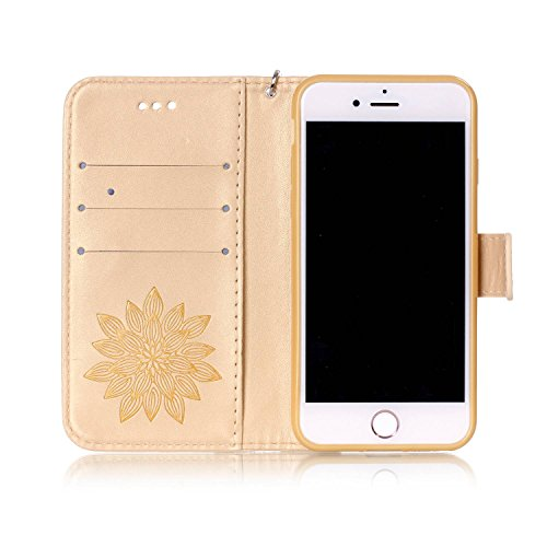 Cover per iPhone 7 4.7 Fiori Custodia,BtDuck Ultra Sottile PU Pelle Shell Disegno Mandala Datura fiori Retro protettivi Bumper Covers Caso per iPhone 7 4.7 Chiusura Magnetica Snap-on ID Carte di Credi #D Oro